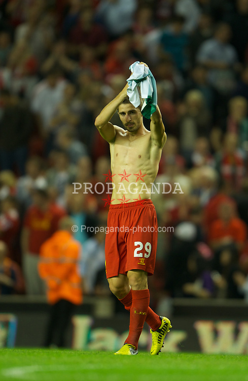 LIVERPOOL, ENGLAND - Thursday, August 9, 2012: Liverpool's Fabio Borini applauds the supporters after making his home debut and scoring the opening goal during the 3-0 victory over FC Gomel the UEFA Europa League Third Qualifying Round 2nd Leg match at Anfield. (Pic by David Rawcliffe/Propaganda)
