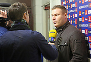 Dave Flitcroft during the The FA Cup match between Rochdale and Bury at Spotland, Rochdale, England on 6 December 2015. Photo by Daniel Youngs.