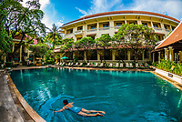 Swimming pool, Raffles Hotel Le Royal, Phnom Penh, Cambodia.