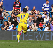 Nelson Oliveira (Nottingham Forest striker) celebrating putting forest 2-1 up during the Sky Bet Championship match between Queens Park Rangers and Nottingham Forest at the Loftus Road Stadium, London, England on 12 September 2015. Photo by Matthew Redman.