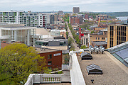 High angle view of Madison, Wisconsin and State Street, taken from the Wisconsin State Capitol Observation Deck.