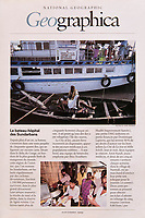 Story on Dominique Lapierre hospital-boats in the Sundarbans (Western Bengal) in India. Published in National Geographic France in November 1999.<br />
