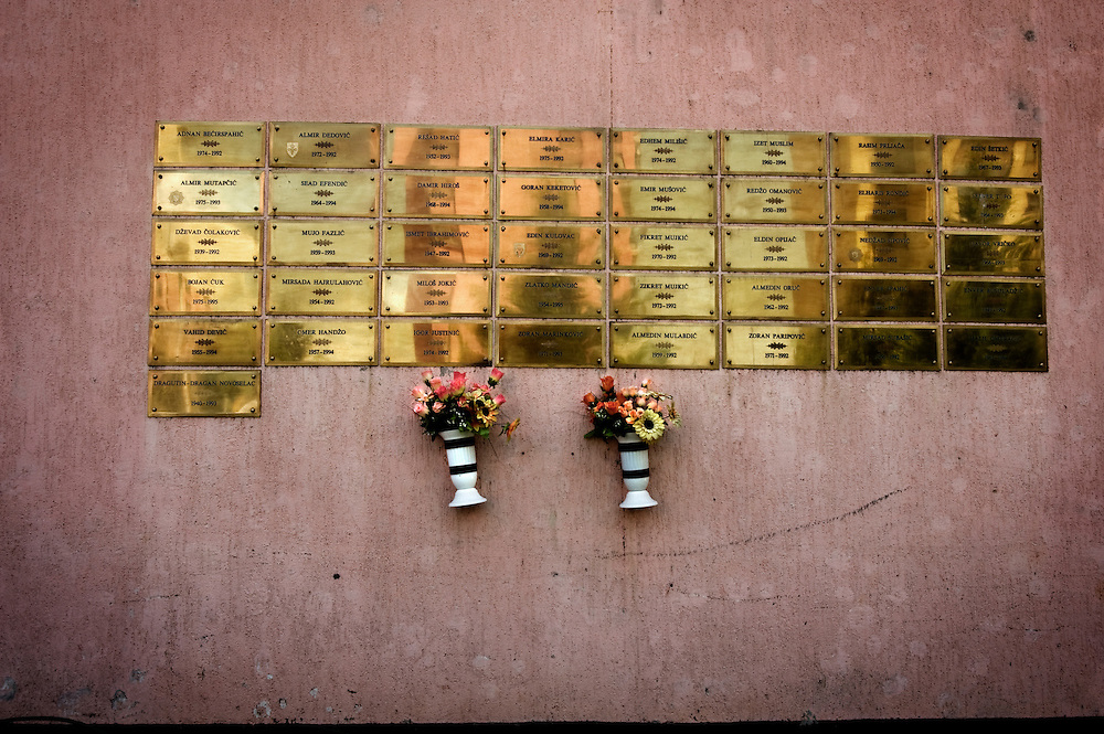 """Sarajevo .The """"deads- wall""""  a monument built in the main square of Mojmilo olympic village in memory of the neighbourhood war victimes."""