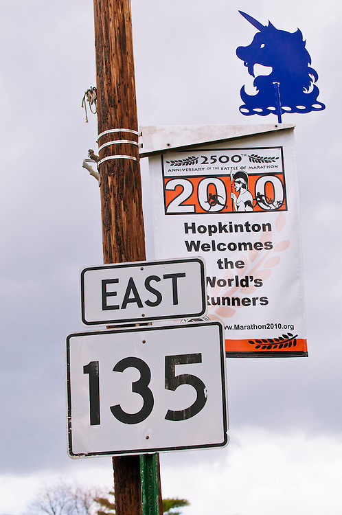 Route 135 sign and Boston Marathon banner, Hopkinton, Massachusetts
