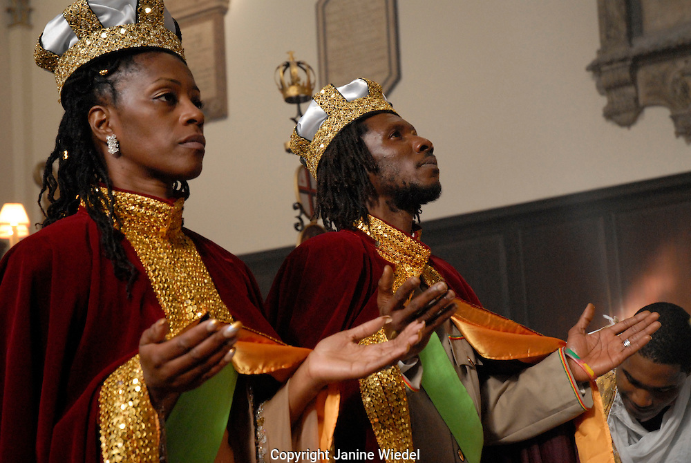 Bride and groom at Sacrament of Matrimony at the Ethiopian Orthodox Tewahedo Church in Central London.