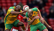 London - Saturday, January 12th, 2008: Dion Dublin (L) and Gary Doherty (R)  of Norwich City during the Coca Cola Champrionship match at Oakwell, Barnsley. (Pic by Paul Hollands/Focus Images)