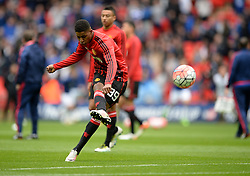 Marcus Rashford of Manchester United shoots at goal during the warm up. - Mandatory by-line: Alex James/JMP - 23/04/2016 - FOOTBALL - Wembley Stadium - London, England - Everton v Manchester United - The Emirates FA Cup Semi-Final
