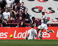 Hearts&rsquo; Esmael Goncalves scores the only goal of the game  - Hearts v Dundee in the Ladbrokes Scottish Premiership at Tynecastle, Edinburgh, Photo: David Young<br /> <br />  - &copy; David Young - www.davidyoungphoto.co.uk - email: davidyoungphoto@gmail.com