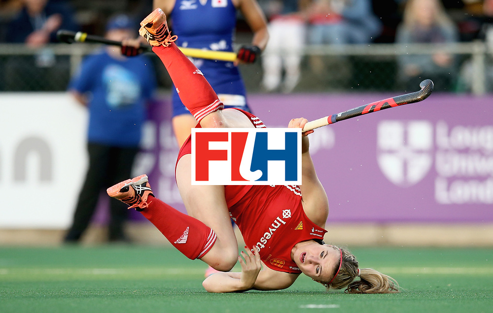 JOHANNESBURG, SOUTH AFRICA - JULY 12: Lily Owsley of England falls over after an attempt at goal during day 3 of the FIH Hockey World League Semi Finals Pool A match between Japan and England at Wits University on July 12, 2017 in Johannesburg, South Africa. (Photo by Jan Kruger/Getty Images for FIH)