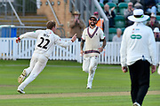 Wicket - Dom Bess of Somerset celebrates taking the wicket of Shivnarine Chanderpaul of Lancashire during the Specsavers County Champ Div 1 match between Somerset County Cricket Club and Lancashire County Cricket Club at the Cooper Associates County Ground, Taunton, United Kingdom on 14 September 2017. Photo by Graham Hunt.