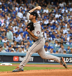 October 25, 2017 - Los Angeles, California, U.S. - Houston Astros starting pitcher Justin Verlander throws to the plate against the Los Angeles Dodgers in the first inning of game two of a World Series baseball game at Dodger Stadium on Wednesday, Oct. 25, 2017 in Los Angeles. (Photo by Keith Birmingham, Pasadena Star-News/SCNG) (Credit Image: © San Gabriel Valley Tribune via ZUMA Wire)