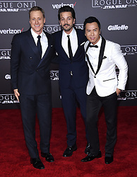 Celebrities arrive at the 'Rogue One: A Star Wars Story' movie premiere in Hollywood, California. 10 Dec 2016 Pictured: Alan Tudyk, Diego Luna and Donnie Yen. Photo credit: American Foto Features / MEGA TheMegaAgency.com +1 888 505 6342