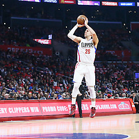 23 December 2016: LA Clippers guard Austin Rivers (25) takes a jump shot during the Dallas Mavericks 90-88 victory over the LA Clippers, at the Staples Center, Los Angeles, California, USA.