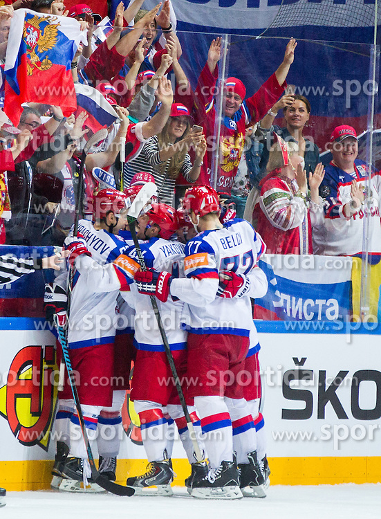 Players of Russia celebrate after scoring third goal for Russia during Ice Hockey match between USA and Russia at Semifinals of 2015 IIHF World Championship, on May 16, 2015 in O2 Arena, Prague, Czech Republic. Photo by Vid Ponikvar / Sportida