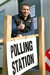 © Licensed to London News Pictures. 07/05/2015. Tamworth, Staffordshire, UK. Polling stations opened at 7 am on the day of the General Election. Pictured, First voter at Dorado Polling Station in Tamworth, Jake Busst (24), on his first visit to a Polling Station. Photo credit : Dave Warren/LNP