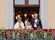 Oslo, 09-05-2017 <br /> <br /> King Harald and Queen Sonja  celebrate their 80th birthday with their family and Royal guests at The Royal Place of Oslo<br /> <br /> <br /> COPYRIGHT: ROYALPORTRAITS EUROPE/ BERNARD RUEBSAMEN