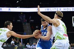 Konstantinos Papanikolao of Greece between Jure Balazic of Slovenia and Miha Zupan of Slovenia during friendly match between National Teams of Slovenia and Greece before World Championship Spain 2014 on August 17, 2014 in Kaunas, Lithuania. Photo by Robertas Dackus / Sportida.com