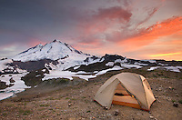 Alpenglow over Mount Baker, 10,781 ft (3,286 m) and backcountry campsite, Mount Baker Wilderness Washington
