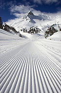 Groomed Piste in Monetier les Bains looking to Neyzets Peak