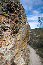 Colorful rock formations along Balconies Cliffs Trails, Pinnacles National Monument, California, United States of America