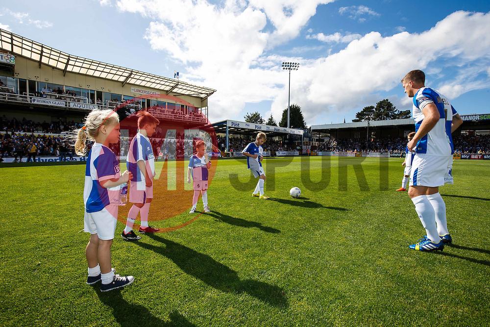 Mascots warm up with Lee Mansell of Bristol Rovers - Mandatory byline: Rogan Thomson/JMP - 07966 386802 - 12/09/2015 - FOOTBALL - Memorial Stadium - Bristol, England - Bristol Rovers v Accrington Stanley - Sky Bet League 2.