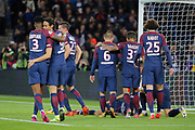 Edinson Roberto Paulo Cavani Gomez (psg) (El Matador) (El Botija) (Florestan) and Presnel Kimpembe (PSG), Julian Draxler (PSG), Marco Verratti (psg), Daniel Alves da Silva (PSG), Adrien Rabiot (psg) joined Angel Di Maria (psg) on the floor during the French Championship Ligue 1 football match between Paris Saint-Germain and OGC Nice on October 27, 2017 at Parc des Princes stadium in Paris, France - Photo Stephane Allaman / ProSportsImages / DPPI