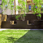 Modern minimal garden designed for Brooklyn Family featuring horizontal fencing, lawn, Blue Stone paving and custom planters and benches.