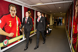 SWANSEA, WALES - Tuesday, March 26, 2013: Wales' Andy King and Sam Vokes arrive at the Liberty Stadium ahead of the 2014 FIFA World Cup Brazil Qualifying Group A match against Croatia. (Pic by David Rawcliffe/Propaganda)