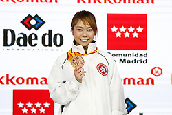 November 10, 2018 - Madrid, Madrid, Spain - Lau M. of Japan win the bronce medal and the third place of the tournament of Female Kata tournament during the Finals of Karate World Championship celebrates in Wizink Center, Madrid, Spain, on November 10th, 2018. (Credit Image: © AFP7 via ZUMA Wire)