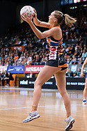 SYDNEY, NSW - JUNE 22: Kiera Austin of the Giants catches the ball during the round 9 Super Netball match between the Giants and the Vixens at Quaycentre on June 22, 2019 in Sydney, Australia. (Photo by Speed Media/Icon Sportswire)