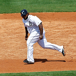 March 14, 2012; Lakeland, FL, USA; Detroit Tigers first baseman Prince Fielder (28) advances to third base during the bottom of the second inning of a spring training game against the New York Mets at Joker Marchant Stadium. Mandatory Credit: Derick E. Hingle-US PRESSWIRE