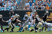 Jonathan Stewart(28) rushes up the middle in the New Orleans Saints 34 to 13 victory over the Carolina Panthers.