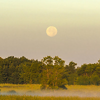 Full moon at sunrise on Horicon Marsh