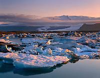 Icebergs from the Breidamerkurjokull glacier glowing in the midnight sun. Vatnajokull in the distance. Jokullsarlon Iceland, Europe