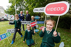 Repro Free: 07/06/2017 Minister for Education and Skills, Richard Bruton T.D. is pictured with Mr Ray Dolan, CEO, safefood and pupils of St. Vincent de Paul Infant School, Griffith Avenue, Dublin, <br /> Michael O' Neill (7), Aoibheann Clancy (7)Henry Cronin (7) and Emma Lidierth (7) as safefood launch a new free educational resource to help teach primary schoolchildren about the media, advertising and fake news. Picture Andres Poveda