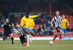 Bristol Rovers' Nathan Blissett  is challenged by Grimsby's Christian Jolley - Photo mandatory by-line: Neil Brookman/JMP - Mobile: 07966 386802 - 14/02/2015 - SPORT - Football - Cleethorpes - Blundell Park - Grimsby Town v Bristol Rovers - Vanarama Football Conference