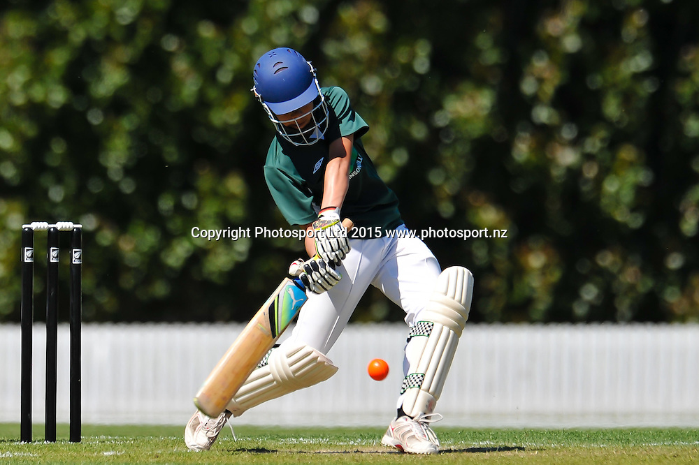 A player of Raroa Normal Intermediate School during the New Zeland Post Cup Finals Cricket matches at Lincoln, Christchurch. 25th November 2015. Copyright Photo: John Davidson / www.photosport.nz