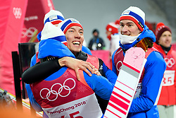 February 11, 2018 - Pyeongchang, SOUTH KOREA - 180211 Johann Andre Forfang of Norway celebrates after winning silver in the men's normal hill Individual ski jumping final during day one of the 2018 Winter Olympics on February 11, 2018 in Pyeongchang..Photo: Carl Sandin / BILDBYRÃ…N / kod CS / 57999_281 (Credit Image: © Carl Sandin/Bildbyran via ZUMA Press)
