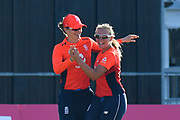 Wicket - Amy Jones of England celebrates taking the catch to dismiss Maddy Green of New Zealand with Katie George of England during the International T20 match between England Women Cricket and New Zealand at the Bristol County Ground, Bristol, United Kingdom on 28 June 2018. Picture by Graham Hunt.