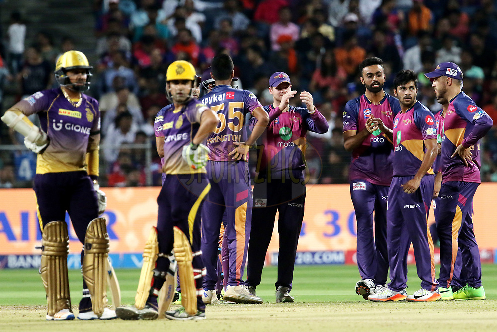 Rising Pune Supergiant players celebrates the wicket of Sunil Narine of the Kolkata Knight Riders during match 30 of the Vivo 2017 Indian Premier League between the Rising Pune Supergiants and the Kolkata Knight Riders  held at the MCA Pune International Cricket Stadium in Pune, India on the 26th April 2017<br /> <br /> Photo by Vipin Pawar- IPL - Sportzpics