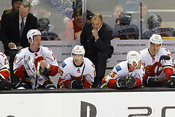 Jan 17, 2012; San Jose, CA, USA; Calgary Flames head coach Brent Sutter stands behind the bench against the San Jose Sharks during the third period at HP Pavilion. San Jose defeated Calgary 2-1 in shootouts. Mandatory Credit: Jason O. Watson-US PRESSWIRE