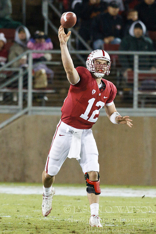 November 27, 2010; Stanford, CA, USA;  Stanford Cardinal quarterback Andrew Luck (12) throws a pass against the Oregon State Beavers during the second quarter at Stanford Stadium.