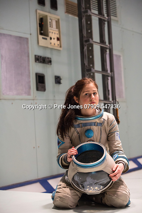 """X"" by Alistair McDowell;<br /> Directed by Vicky Featherstone;<br /> Rita Zmitrowicz as Mattie;<br /> 1 April 2016;<br /> Jerwood Theatre Downstairs, Royal Ct, London, UK"