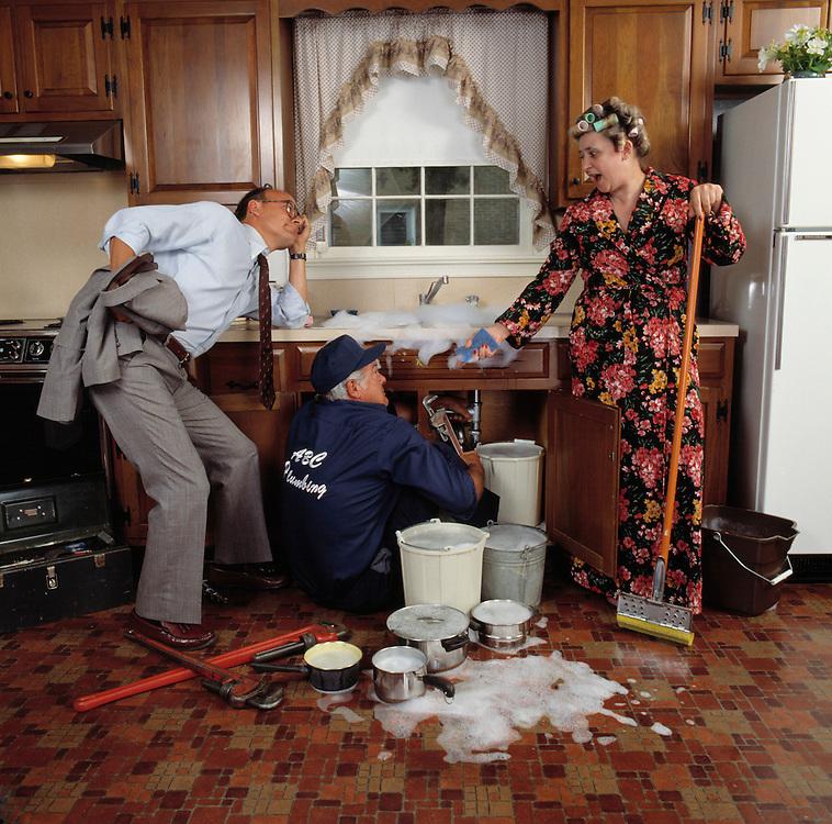 kitchen sink plumbing disaster housewife plumber husband
