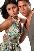 Young multiracial couple with very trendy look.
