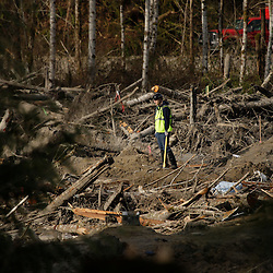 A worker looks on as search work continues in the mud and debris from a massive mudslide that struck Oso near Darrington, Washington April 2, 2014. Efforts to recover bodies following a Washington state mudslide that killed at least 29 people could be hampered in the coming weeks if melting snow runs into a clogged river at the disaster site, officials said. Over the past two days, workers at the mud pile in the foothills of the Cascade Mountains, northeast of Seattle, have taken advantage of sunny skies and receding water, but more rain is expected from Thursday through Sunday.  REUTERS/Jason Redmond (UNITED STATES)
