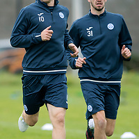 St Johnstone Training…07.09.17<br />David Wotherspoon pictured with Greg Gurst during training at McDiarmid Park ahead of the home game against Hibs<br />Picture by Graeme Hart.<br />Copyright Perthshire Picture Agency<br />Tel: 01738 623350  Mobile: 07990 594431