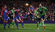 Maya Yoshida with a headed chance during the Barclays Premier League match between Crystal Palace and Southampton at Selhurst Park, London, England on 12 December 2015. Photo by Michael Hulf.