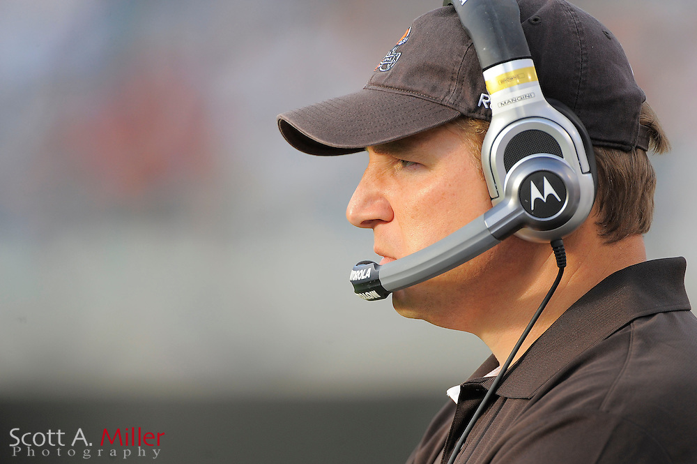 Cleveland Browns head coach Eric Mangini during the Browns game against the Jacksonville Jaguars at EverBank Field on Nov. 21, 2010 in Jacksonville, Florida...©2010 Scott A. Miller
