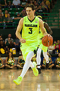 WACO, TX - MARCH 5: Jake Lindsey #3 of the Baylor Bears brings the ball up court against the West Virginia Mountaineers on March 5, 2016 at the Ferrell Center in Waco, Texas.  (Photo by Cooper Neill/Getty Images) *** Local Caption *** Jake Lindsey